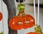 "Pumpkin Ornament, Transparent Orange 3"" Hanging Blown Glass Decoration, Green Loop Stem, Window Sun Catcher By Avalon Glassworks"