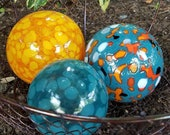 "Turquoise & Orange Spotted Floats, Set of Three, 3.5"" Blown Glass Spheres in Oranges and Turquoise, Decorative Balls, By Avalon Glassworks"