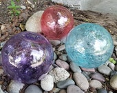 "Nautical Glass Floats with Bubbles, Set of Three, 4.5"" Decorative Seed Glass Balls in Pink, Aqua & Purple, Hand Blown by Avalon Glassworks"