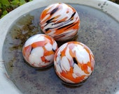 "Goldfish Inspired Pond Floats, Set of Three 3""-4"" Blown Glass Decorative Floats in Orange, White, Black Patterns By Avalon Glassworks"