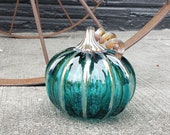 "Aqua Green Transparent, 4"" Blown Glass Pumpkin, Decorative Gourd Sculpture with Dark Gold Ribs and Stem, By Avalon Glassworks"
