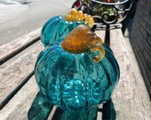 "Aquamarine Pumpkins, Pair of Blown Glass Gourds, Gold Curly Stems, 5"" Transparent Teal Green Set of Two, Coastal Decor, Avalon Glassworks"