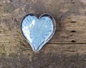 "Steel Blue Glass Heart, Solid 3"" Paperweight Sculpture, Valentine's Day, Anniversary, Appreciation Gift, By Avalon Glassworks"