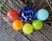 "Summer Fling Floats, Set of Six 2.5"" to 4.5"" Blown Glass, Colorful Decorative Balls by Avalon Glassworks for Outdoors or Indoors"