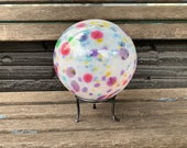 """Rainbow Sprinkles Float with Stand, 6"""" Blown Glass Pond Ball, Multi-Color Spot Design, Garden Globe on Hand Made Stand, Avalon Glassworks"""
