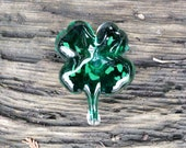 "Solid Glass Lucky 4-Leaf Clover, Green Shamrock Paperweight, 3.5"" Decorative Sculpture with Hint of Sparkle, By Avalon Glassworks"