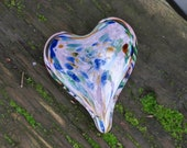 "Multi Color on Pink Spot Glass Heart, Solid Heart-Shaped 3"" Paperweight Sculpture, Appreciation Gift, By Avalon Glassworks"