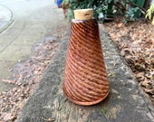 "Pine Cone Pattern, 5"" Hand Blown Glass Container Vase, Natural Browns, Autumn Art Decor, Conical Shape, Cork Stopper, Jar, Avalon Glassworks"