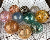 "Speckled Glass Balls, Set of 10 Pond Floats, 2.5"" Spotted Spheres, Blown Glass Decorative Balls, Garden Orbs By Avalon Glassworks"