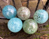 "Blue Mega Mix Speckles, Set of Five Floats, 2.75"" Decorative Blown Glass Balls, Outdoor Garden Decoration, Basket Filler, Avalon Glassworks"