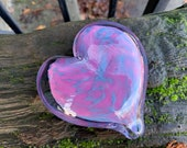 "Pink & Blue Spot Glass Heart, Solid Heart-Shaped 3"" Paperweight Sculpture Valentine Wedding Anniversary Appreciation Gift, Avalon Glassworks"