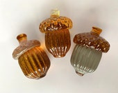 "Glass Acorns, Set of Three, 3"" Amber & Beige Oak Tree Seed Pod Sculptures, Paperweights, Thanksgiving, Autumn Decorations, Avalon Glassworks"