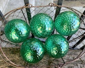 "Green Facet Floats, Set of Five 3"" Hand Blown Glass Balls, Emerald Green Diamond Optics, Garden Spheres, Interior Design, Avalon Glassworks"
