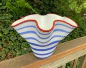 "Blue & White Stripe Ruffle Vase, Red Lip Wrap, 9"" Wavy Bowl, Patriotic Service Award Sculpture, Sits on Side or Stands, by Avalon Glassworks"