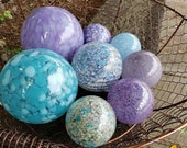 "Blues & Purples, Set of Eight Blown Glass Floats, 2.5""-4"", Decorative Nautical Balls For Home or Garden, by Avalon Glassworks"