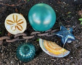 Sandy and Teal Float & Sea Life Set, 5-Piece Art Glass Sculptures: Razor Clam Shell, Sand Dollar, Sea Star, Float, Urchin, Avalon Glassworks