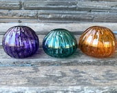 "Mini Urchins, Set of Three, 2.5"" Blown Glass Shells in Purple, Dark Aqua, Amber, Small Decorative Sea Shell Art Sculpture, Avalon Glassworks"