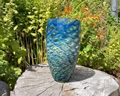 "Butterfly Wing Vase, Deep Blue with Lighter Blue and Beige Scale Pattern, 9.5"" Tall, Blown Glass Studio Art Vase, By Avalon Glassworks"