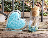 "Blue Spotted Glass Heart and Message Bottle Set, Solid Heart-Shaped 4"" Paperweight & Hand Blown 3.75"" Message Bottle, By Avalon Glassworks"