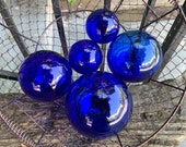 "Cobalt Blue Glass, Set of Five 2.5"" - 4.5"" Floats, Garden Balls, Nautical Home Décor in Vibrant Blue Glass, Hand Blown By Avalon Glassworks"