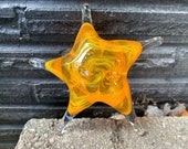 "Yellow and Orange Sea Star, Solid Glass 6"" Starfish Sculpture, Decorative Paperweight, Coastal Decor, Beach House Style, Avalon Glassworks"