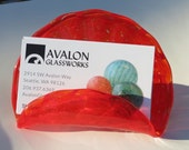 "Red Business Card Holder, 4"" Wide, Hand Blown Glass Desk Accessory, Office Décor, Photo Holder, Executive Gift, By Avalon Glassworks"