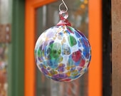 "Pink Mosaic Glass Christmas Ornament, with Green, White and Blue Spots, 2.75"" Blown Glass Hanging Ball By Avalon Glassworks"