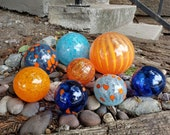 "Orange and Blue Glass Balls, Set of Eight, 2.5"" to 4.5"" Hand Blown Floats, Sturdy Decorative Garden Spheres by Avalon Glassworks"