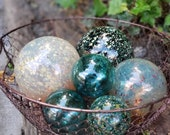 "Teal and Gold Floats, Set of Six Decorative Blown Glass Balls, 2.5"" to 4.5"" Spheres, Pond Floats or Garden Decor, By Avalon Glassworks"