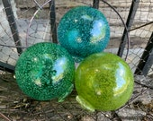 Ocean Colors, Green & Blue Speckled Floats, Set of Three Hand Blown Glass Decorative Garden Balls, Coastal Nautical Decor, Avalon Glassworks