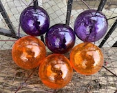Purple and Orange Blown Glass Balls, Set of Six Small Transparent Decorative Garden Float Pond Spheres, Interior Design, Avalon Glassworks