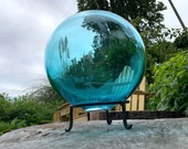 "Large Aqua Float, 8"" Transparent Light Blue Blown Glass Garden Ball with Stand, Decorative Floating Nautical Sphere, By Avalon Glassworks"