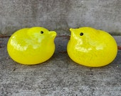 Yellow Glass Chicks, Set of 2 Hand Blown Glass Bird Sculptures, Spring Table Mantel Baby Shower Easter Basket Decorations, Avalon Glassworks