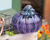 "Purple Blown Glass Pumpkin, 4"" Decorative Sculpture with Metallic Blue Ribs and Stem, By Avalon Glassworks"