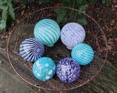 "Blown Glass Balls, Set of Six, 3.5"" to 4.5"" Turquoise, Purple & White, Pond Floats, Sturdy Decorative Glass Garden Orbs by Avalon Glassworks"