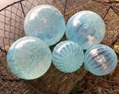 "Jellyfish Floats, Set of Five 2.5""-4"" Hand Blown Glass Garden Balls, Transparent Opalescent Light Blue Outdoor Art Spheres Avalon Glassworks"