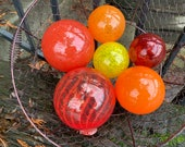 "The Hot Set, Hand Blown Glass Floats, Group of Six 2.5""-4"" Warm Tones, Red, Orange, Yellow Garden Balls, Floating Spheres, Avalon Glassworks"