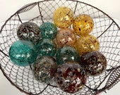 "Speckled Glass Balls, Set of 12 Pond Floats, 2.75"" Dark Red, Gold, Teal Spots, Blown Glass Decorative Garden Spheres By Avalon Glassworks"