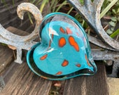 "Turquoise and Orange Glass Heart, Solid Heart-Shaped 3"" Paperweight Sculpture, Valentine, Anniversary, Appreciation Gift, Avalon Glassworks"