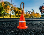 "Construction Cone Ornament, Special Edition 2019 Hand Blown Glass Signed Numbered 3"" Traffic Pylon Decoration, Sits Hangs, Avalon Glassworks"