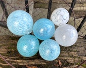 "Airy Blue and White, Blown Glass Balls, Set of Six Translucent 2.5""-3.5"" Pond Floats, Garden Art Decoration Basket Filler Avalon Glassworks"