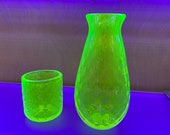 Uranium Glass Decanter and Tumbler Set, Glows in Black Light, Hand Blown Vaseline Glass Cup and Vase, Bright Yellow, by Avalon Glassworks