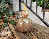 "Coral Red & Green Spotted Gourd, 7"" Blown Glass Pumpkin, Decorative Bottle Gourd Sculpture with Stubby Orange Stem, By Avalon Glassworks"