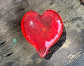 "Cherry Red Glass Heart, Solid Heart-Shape 3"" Paperweight Sculpture, Appreciation Gift, Valentine, Anniversary, Wedding, By Avalon Glassworks"