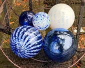"Blue and White Floats, Set of Five, 2.5""-4.5"" Decorative Glass Balls, Nautical Pond Spheres, Hand Blown Glass Balls by Avalon Glassworks"