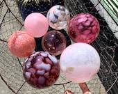 "Cherry Blossom Garden Balls, Set of Seven 2.75""-4.5"" Pink Blown Glass Floats, Interior Design Outdoor Garden Art Spheres, Avalon Glassworks"