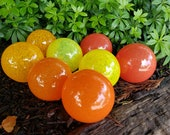"Red, Orange & Yellow, Set of Eight 2.75"" Glass Balls, Opaque Red, Orange and Yellow, Home or Outdoor Décor, Hand Blown By Avalon Glassworks"