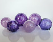 "Purple Glass Floats, Set of Six 2.75""-4"" Sturdy Decorative Blown Glass Garden Balls, Home Decor, Pond Floats, by Avalon Glassworks"