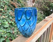 """Dark Blue Butterfly Wing Vase, Beige and Green Scale Pattern, 9"""" Tall Hand Blown Glass Studio Art, Northwest Contemporary, Avalon Glassworks"""