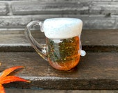 "Beer Mug Ornament, Micro Brew Mini Lager Beer Sculpture, 2"" Solid Glass Paperweight, Hanging Decoration or Tabletop Decor, Avalon Glassworks"